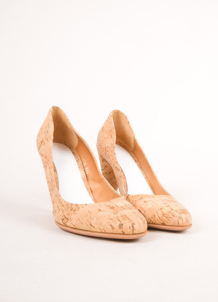 Maison Martin Margiela Tan Cork Closed Toe Pumps Frontview