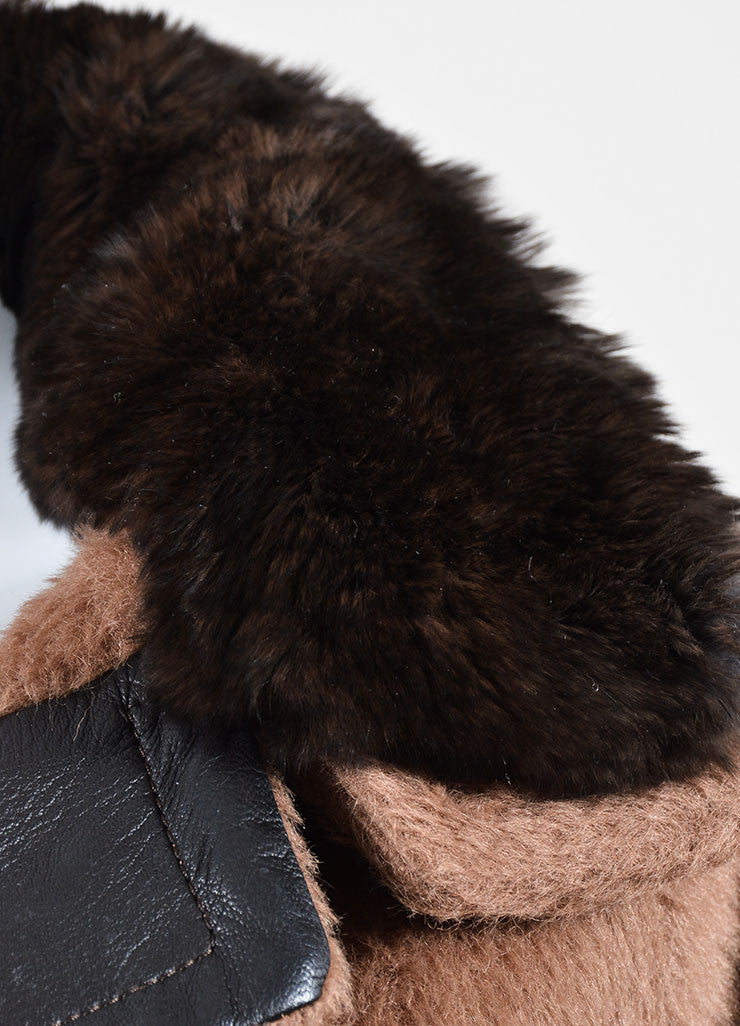 Tan and Brown Malo Mohair, Wool, and Rabbit Fur Collar Belted Coat Detail