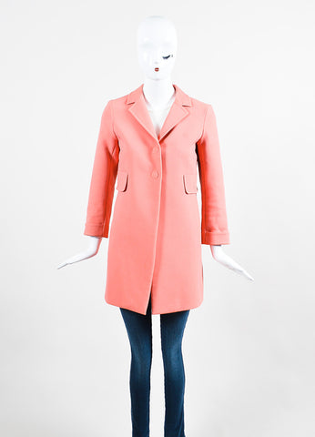 Marc Jacobs Pink Cotton Blend Notch Collar Snap Front Coat Frontview 2