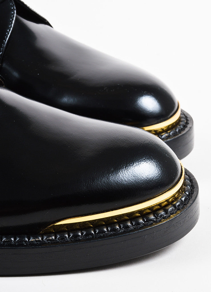 Marni Black Glossy Leather Gold Tip Lace Up Oxford Loafers Detail