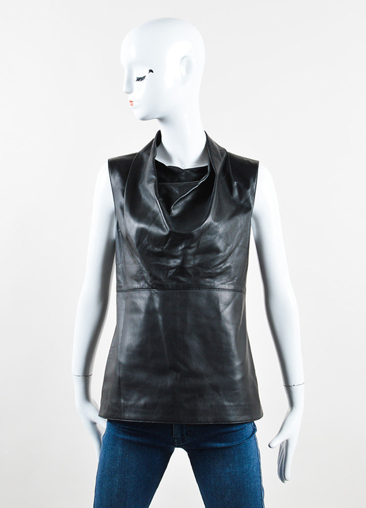 Mulberry Black Leather Cowl Neck Sleeveless Top Frontview
