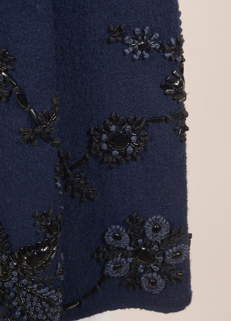Oscar de la Renta Navy Wool Floral Beaded Embroidered Sleeveless Dress Detail