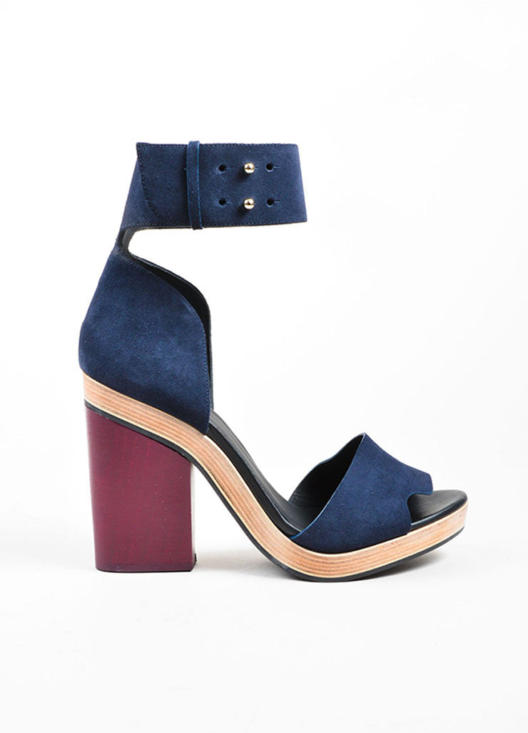 Navy and Maroon Pierre Hardy Suede Leather and Wood Sandals Sideview