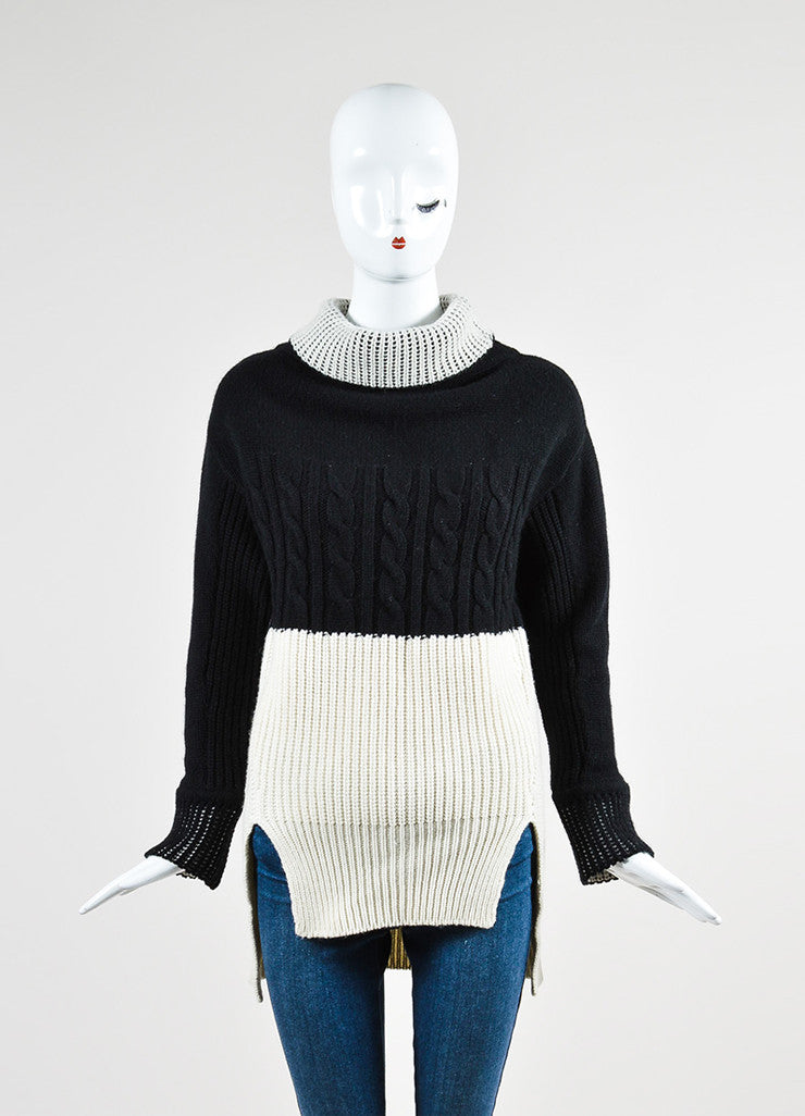 Prabal Gurung Black and Cream Cashmere Turtleneck Pullover Sweater Frontview