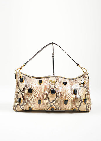 Beige, Brown, and Black Prada Python Leather Jeweled Front 2 Way Shoulder Bag Frontview