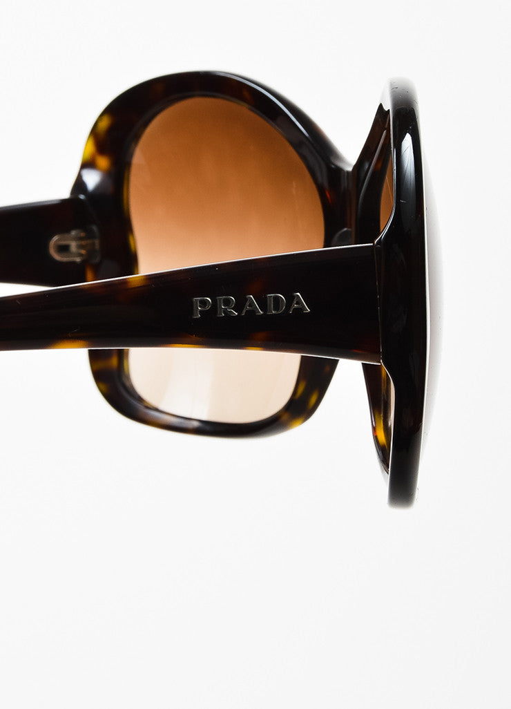 "Brown Prada Tortoise Shell ""Butterfly"" Oversized Sunglasses Side"