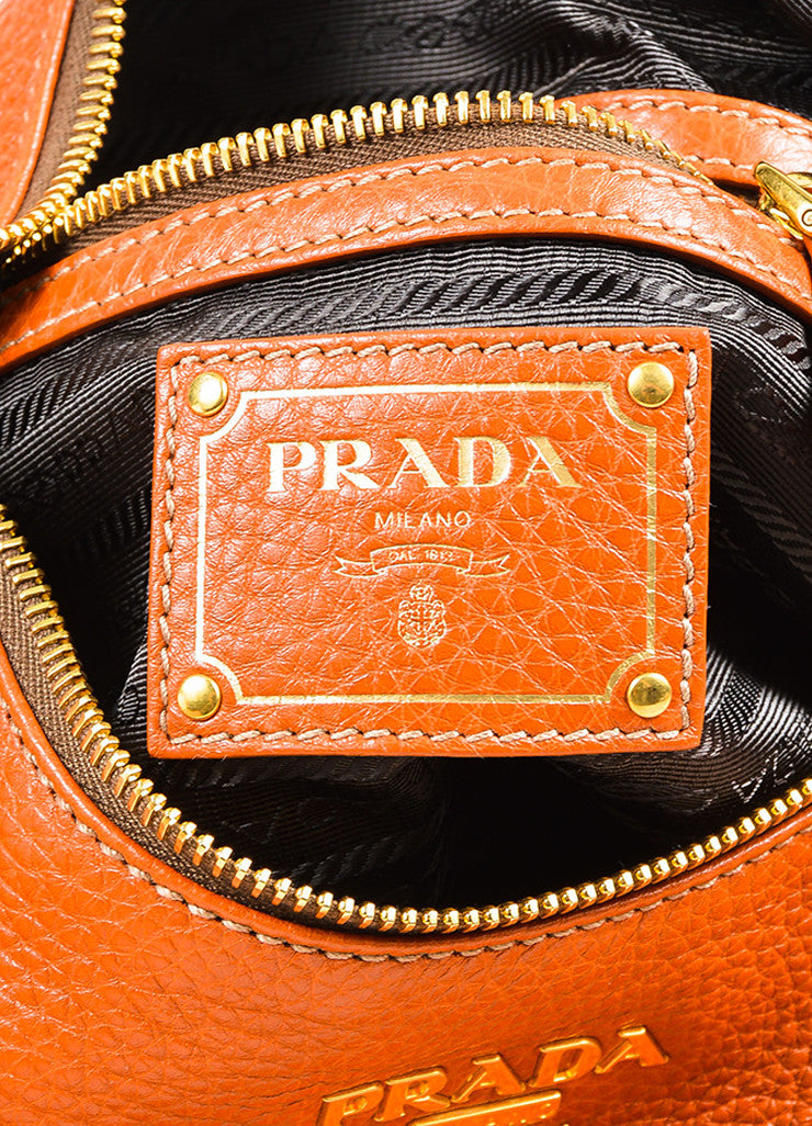"Prada Burnt Orange Grained Leather ""Vitello Daino"" Hobo Bag"