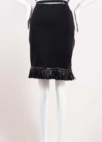 Reed Krakoff Black Neoprene and Leather Fringe Feather Trim Skirt  Frontview