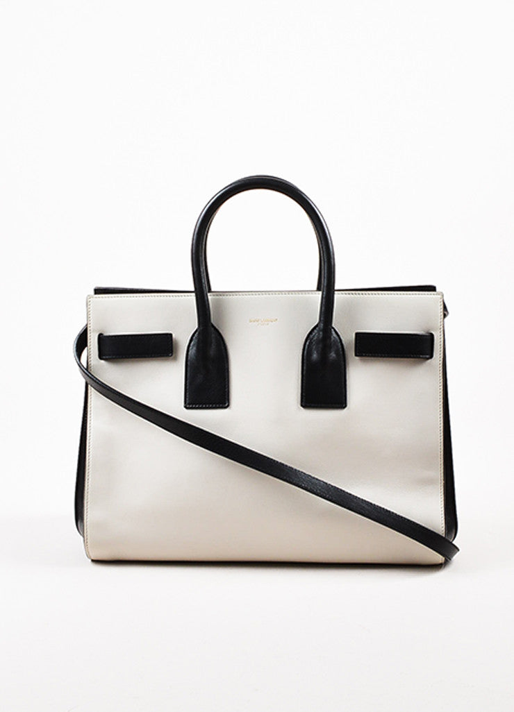 "¥éËSaint Laurent Light Grey and Black Leather Color Block ""Small Sac de Jour"" Tote Bag Frontview"