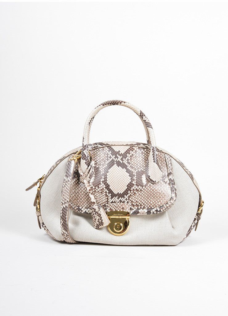 "Salvatore Ferragamo Taupe Canvas and Snakeskin ""Fiamma"" Shoulder Bag Frontview"