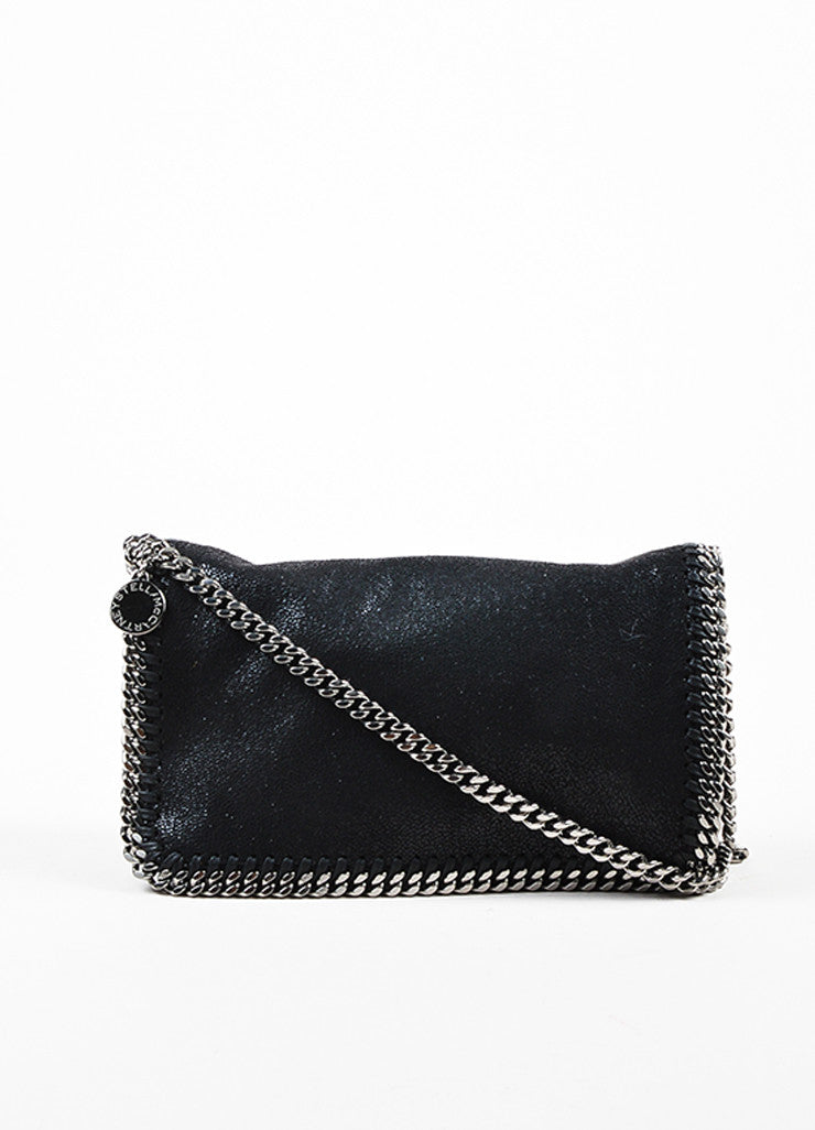 "Stella McCartney Black ""Falabella Shaggy Deer"" Crossbody Pochette Frontview"