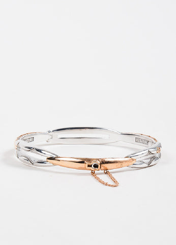 Tacori Sterling Silver and 18K Rose Gold Promise Lock Key Bangle Bracelet Backview