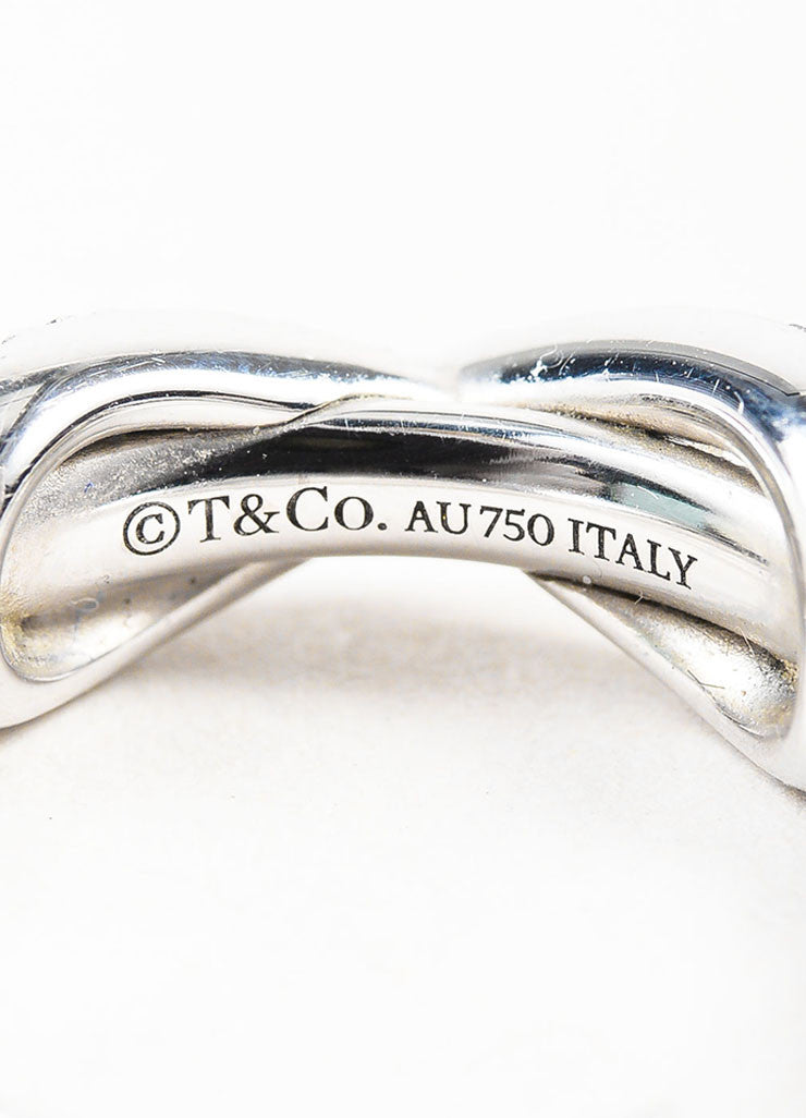 "Tiffany & Co. 18K White Gold Pave Diamond ""Infinity"" Ring Brand"