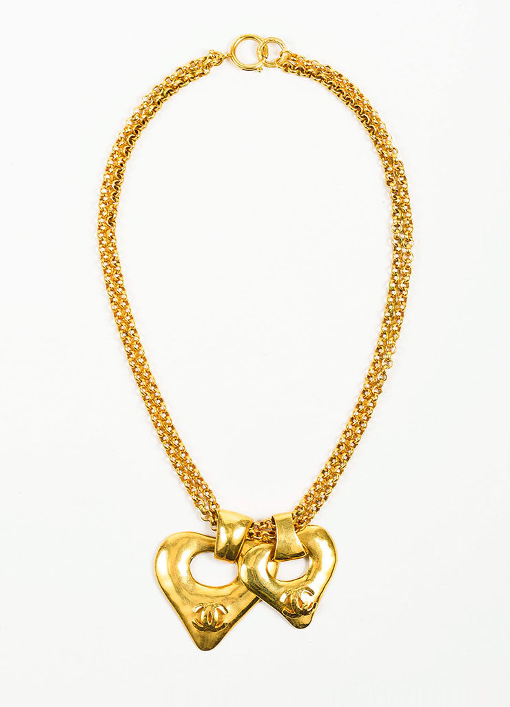 Gold Toned Chanel 'CC' Logo Double Heart Pendant Chain Necklace Frontview