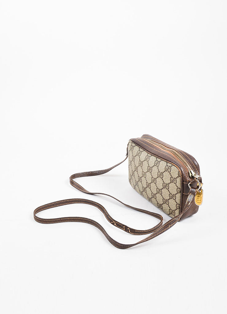 Gucci Beige and Brown Coated Canvas and Leather 'GG' Monogram Cross Body Bag Sideview