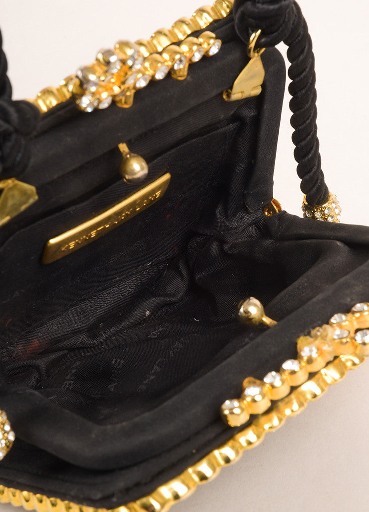 Kenneth Jay Lane Black and Gold Toned Rhinestone Bow Clasp Square Clutch Bag Interior