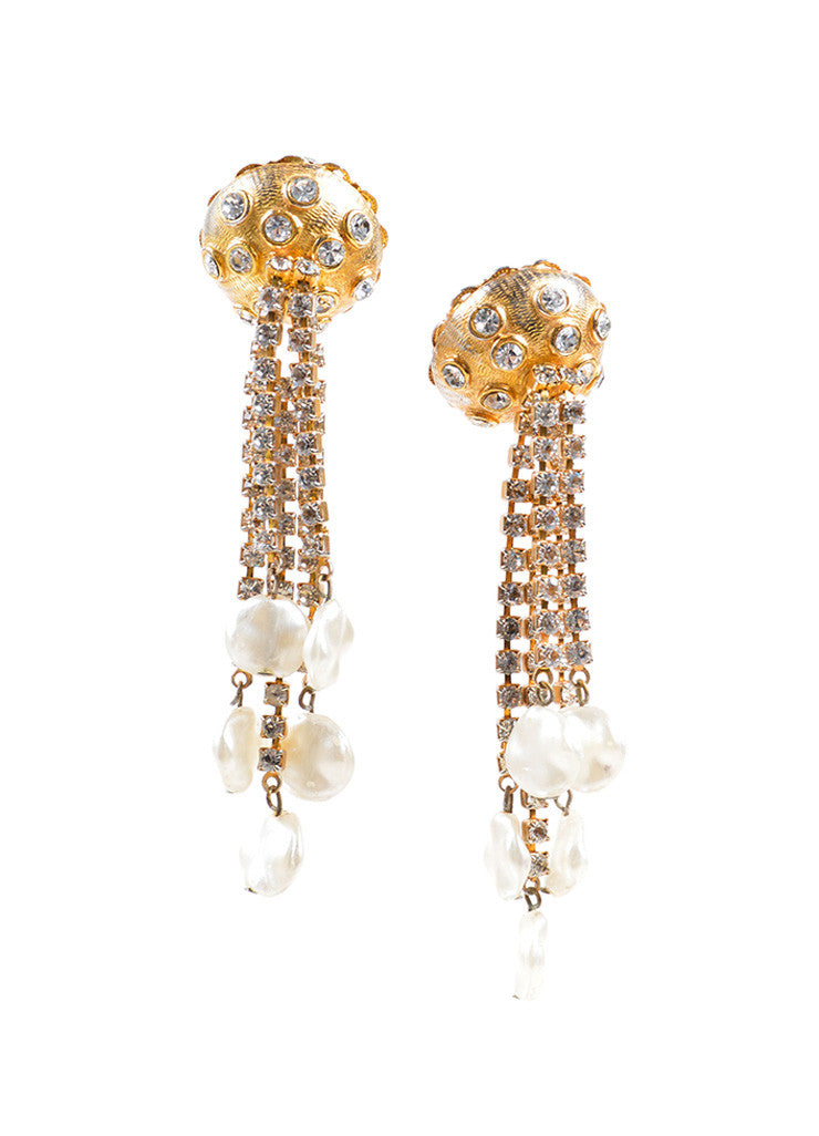 Kenneth Jay Lane Gold Toned Dangling Rhinestone and Faux Pearl Earrings Frontview