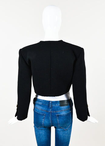 Saint Laurent Rive Gauche Black Ribbed Open Front Cropped Jacket Backview
