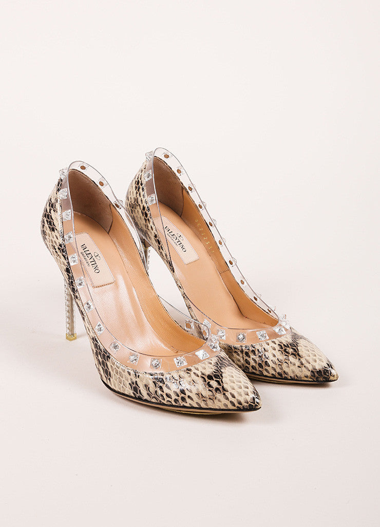 "Valentino Beige and Black Snakeskin Leather ""Naked Rockstud"" Pumps Frontview"