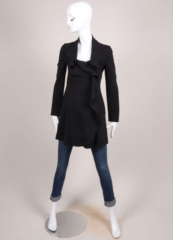 Valentino Black Crepe Ruffle Long Sleeve Jacket Frontview
