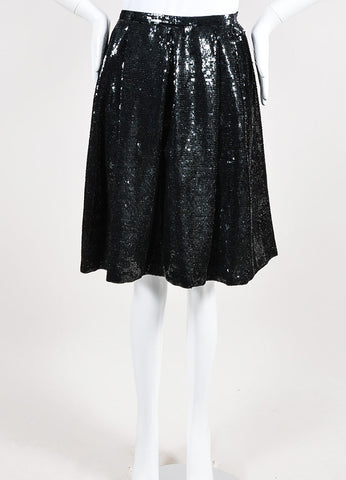 Black Valentino Silk Sequin Embellished Pleated Knee Length A-Line Skirt Frontview