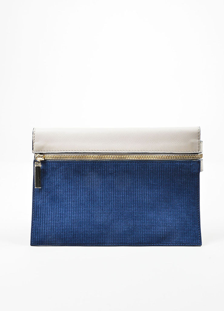 Grey and Blue Victoria Beckham Leather Zip Pouch Clutch Bag Frontview