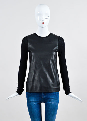Vince Black Wool Ribbed Knit Leather Panel Long Sleeve Top Frontview