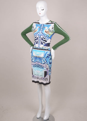 "Green, Blue, and White Stamp Print ""Starsailor"" Dress"