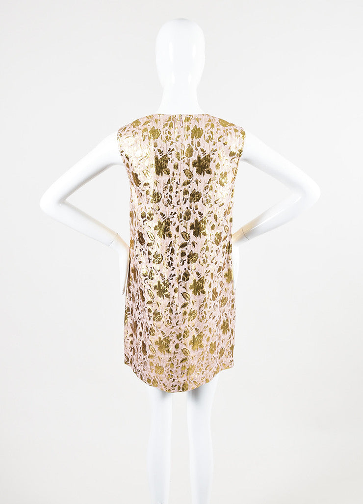 3.1 Philip Lim Pink and Gold Lurex Silk Floral Jacquard Sleeveless Dress Backview