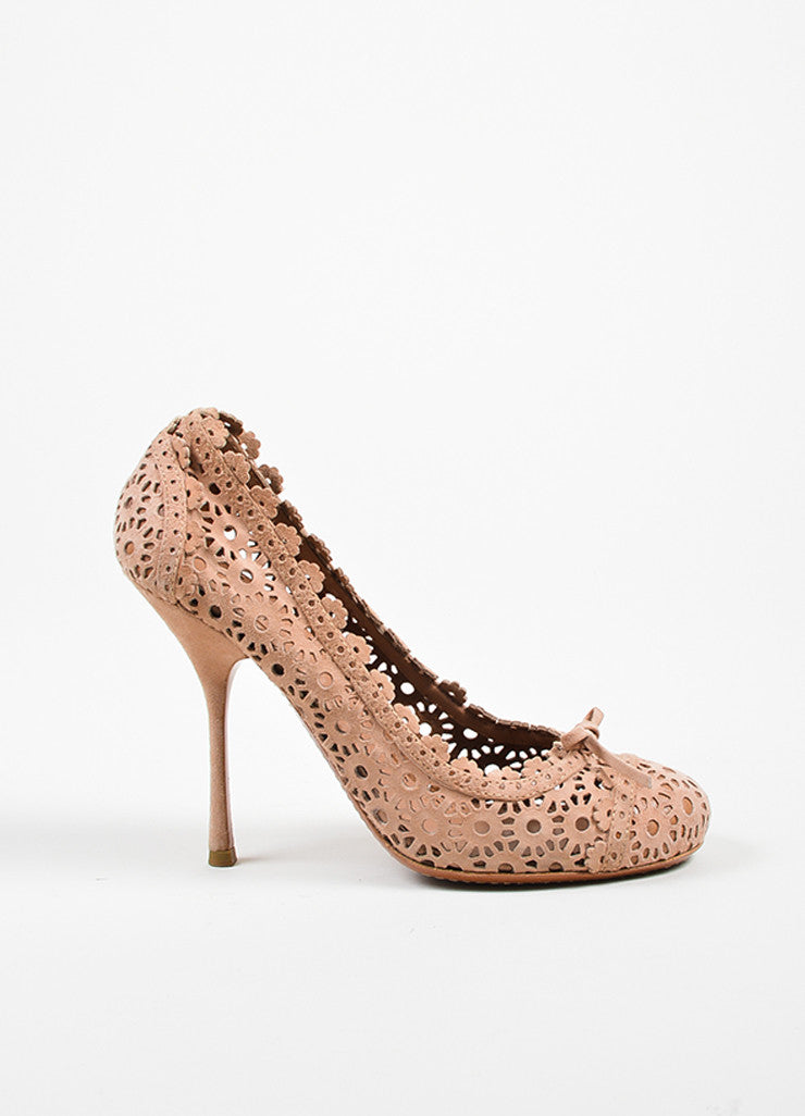 Blush Alaia Suede Floral Laser Cut Out Perforations Round Toe Pumps Sideview