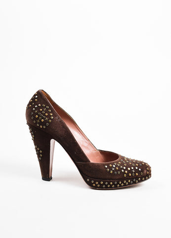 Brown Alaia Suede Studded Platform Pumps Side