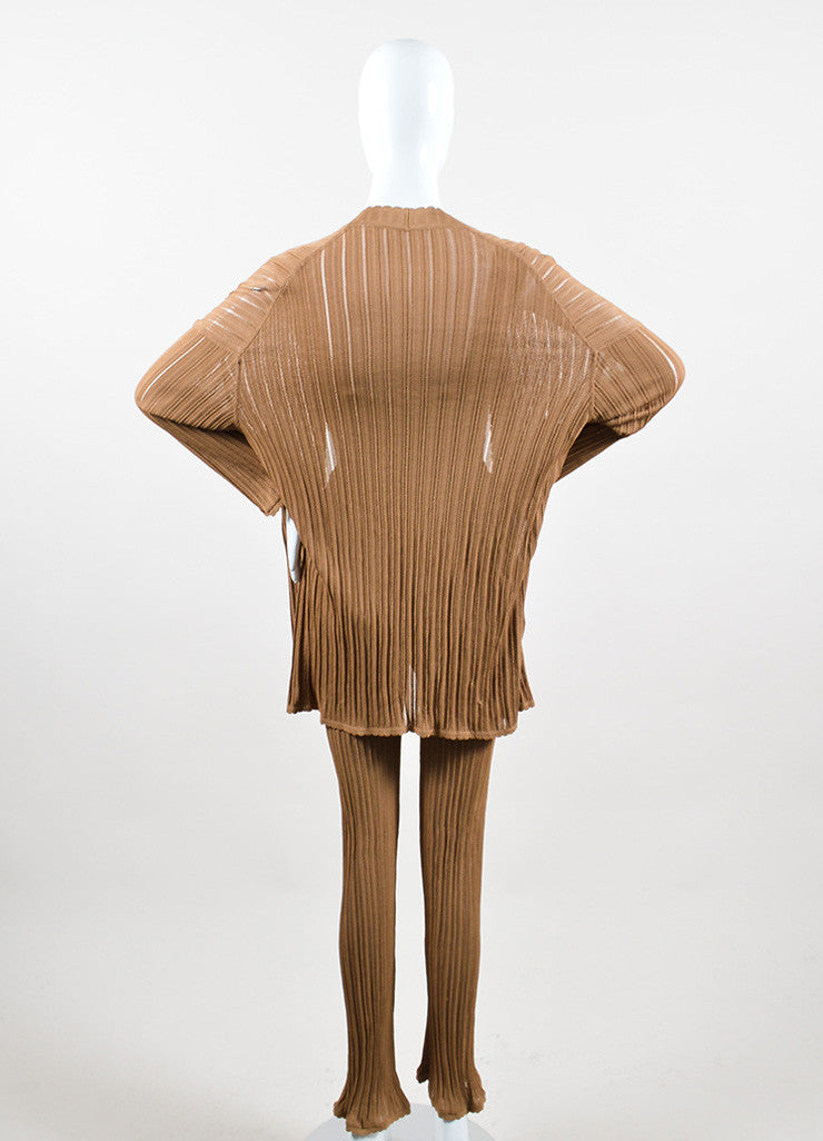 Camel Tan Knit Alaia Bodysuit, Wide Leg Pants, and Cardigan Three Piece Set Backview