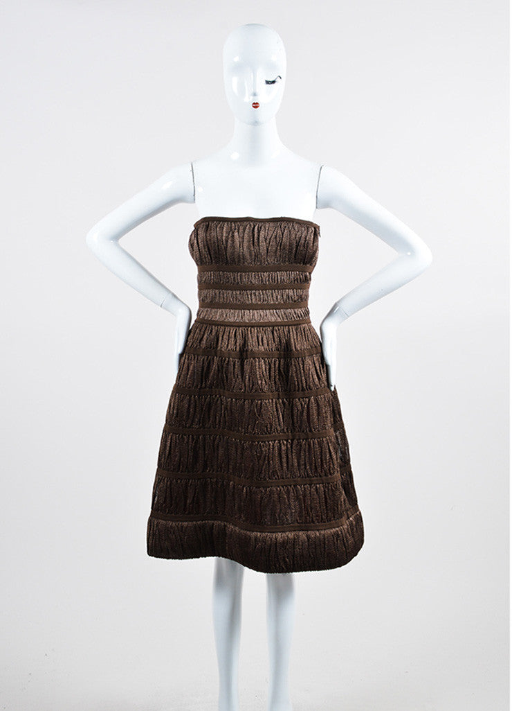 Metallic Brown Alaia Corset Strapless Dress Frontview
