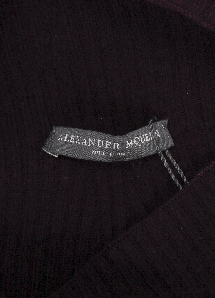 Alexander McQueen New With Tags Purple Wool and Cashmere Mock Neck A-Line Sweater Brand