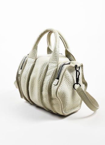 "Grey ""Chalk"" Black Studded Alexander Wang ""Rockie"" Satchel Cross Body Bag Sideview"