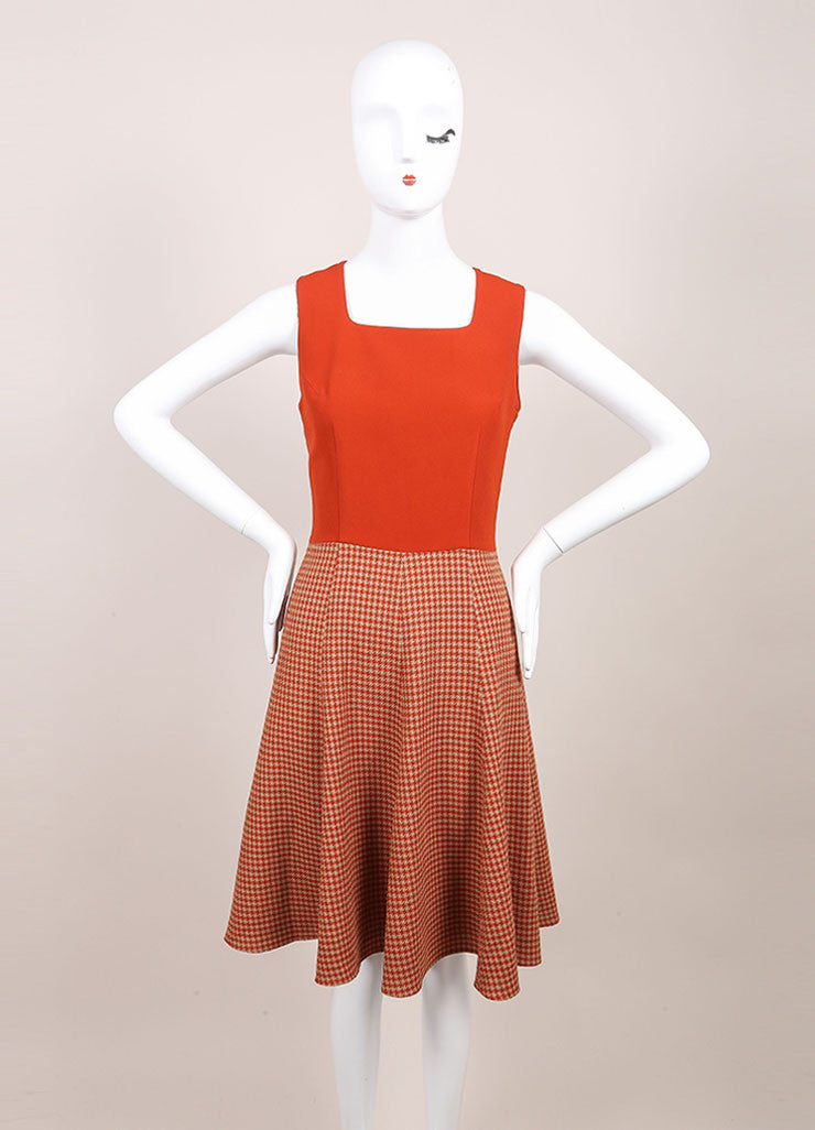 Andrew Gn New With Tags Tan, Orange, and Red Wool Blend Houndstooth Skater Dress Frontview