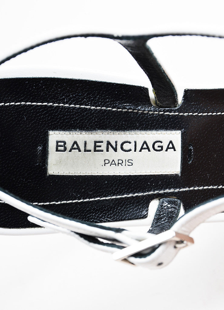 "White and Silver Toned Balenciaga Leather Open Toe ""Jacquelyn"" Sandals Brand"