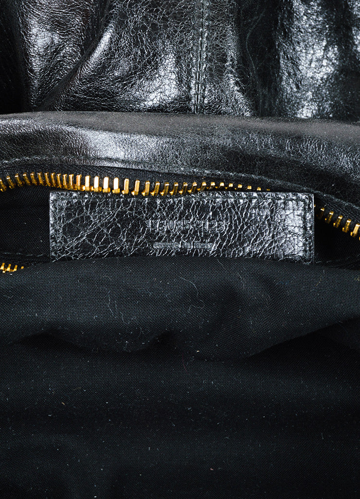 "Balenciaga Black and Gold Toned Leather ""Giant Brief"" Tote Bag Serial"