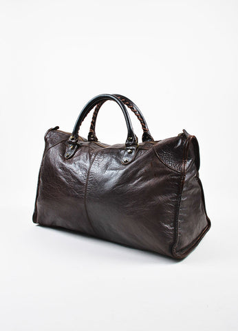 "Balenciaga Brown Distressed Leather Classic Studded ""Classic Work"" Tote Bag Sideview"
