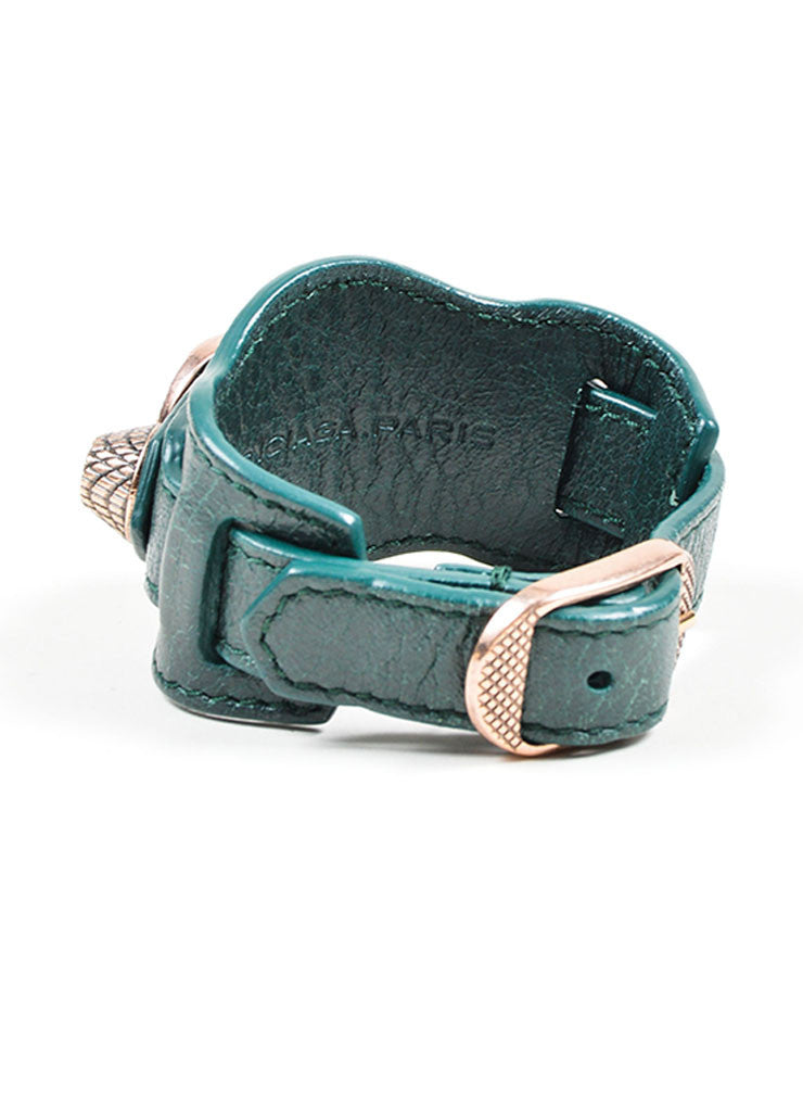 Dark Green Balenciaga Leather Classic Strap Bracelet Back