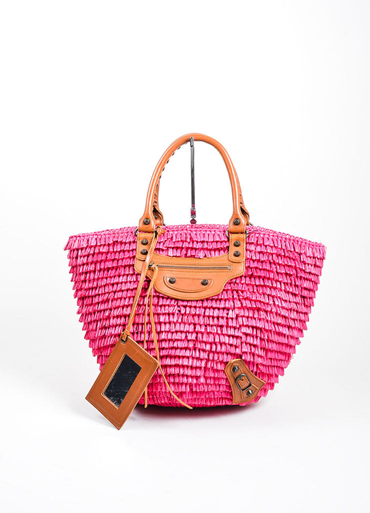 Hot Pink Balenciaga Raffia Whip Stitched Handle Tote Bag Frontview