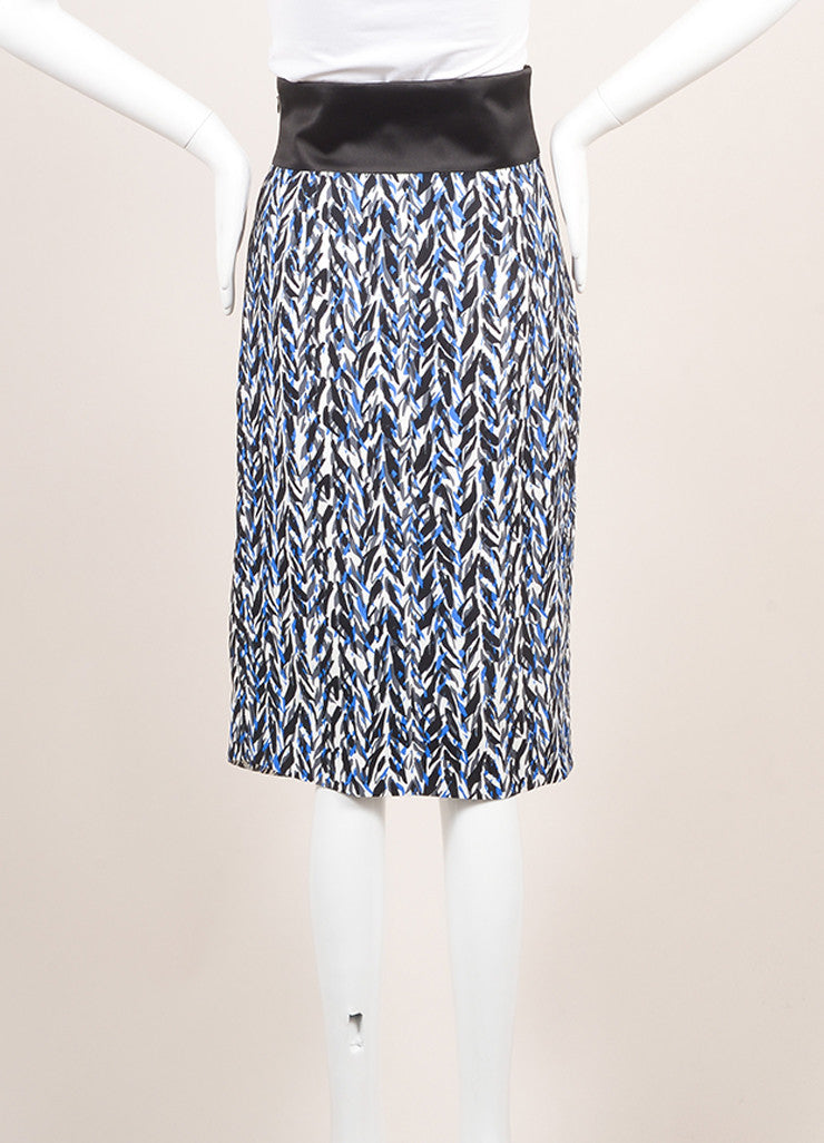 Balenciaga New With Tags Black, Blue, and Grey Graphic Print Drape Skirt Backview