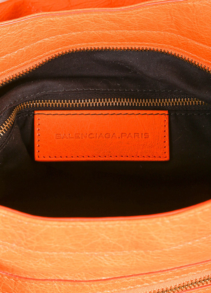 "Balenciaga New With Tags Orange Stud Accent Crossbody ""Velo"" Satchel Bag Brand"
