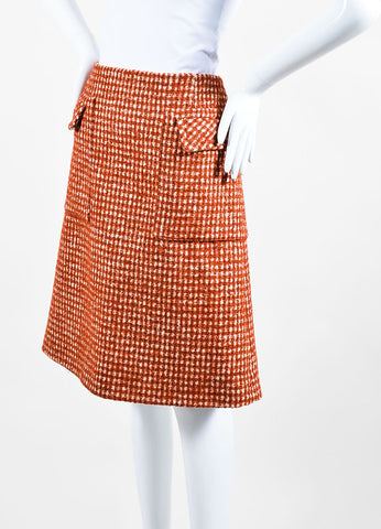 "Bottega Veneta Rust Red and Cream Pied De Poule Wool ""Arizona"" Skirt Sideview"