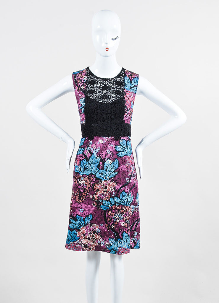 Purple, Blue, and Black Burberry Prorsum Floral Lace Inset Dress Frontview