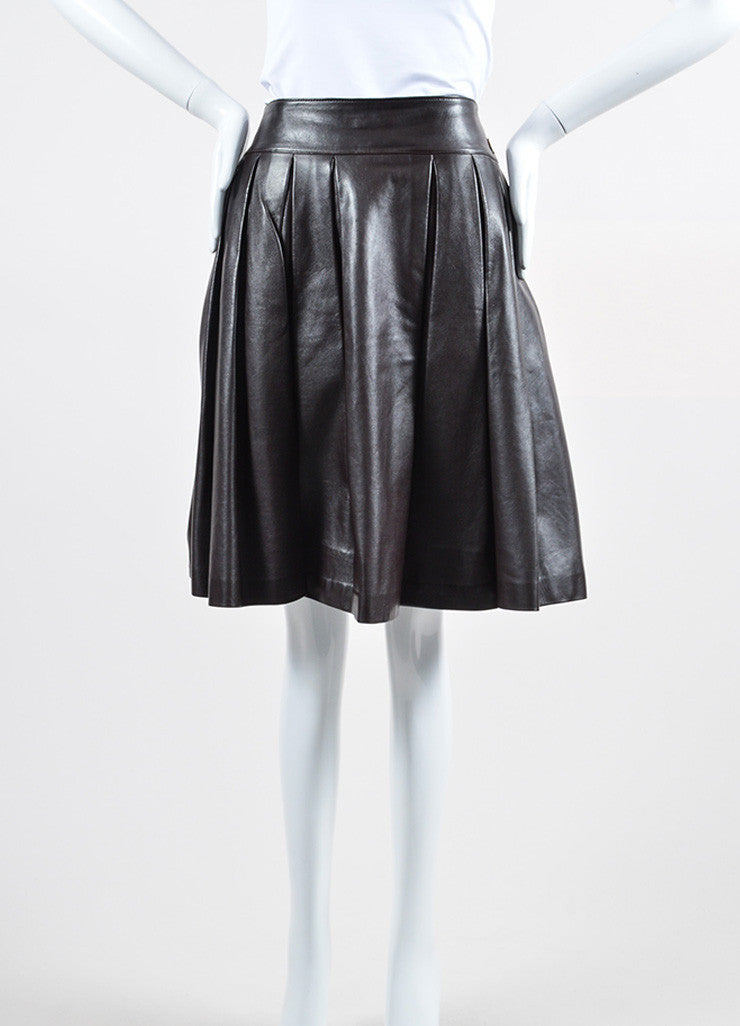 Burgundy Brown Chanel Leather Pleated A-Line Skirt Frontview
