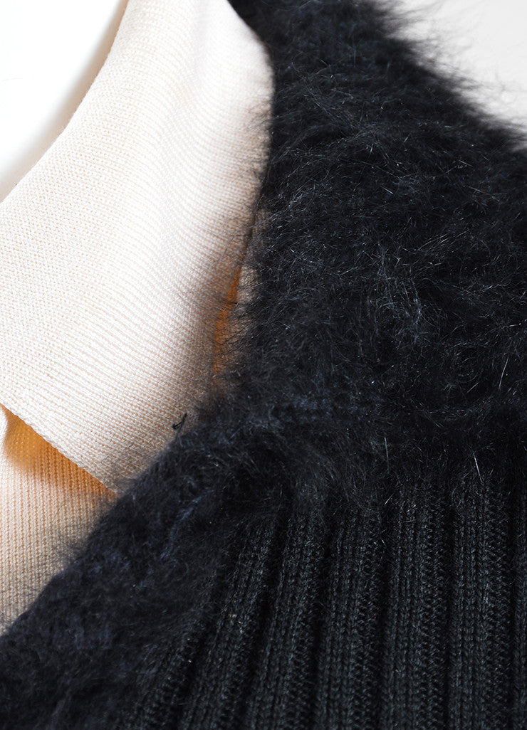 Black and Cream Chanel Wool, Silk, and Angora Long Sleeve Ribbed Furry Sweater Detail
