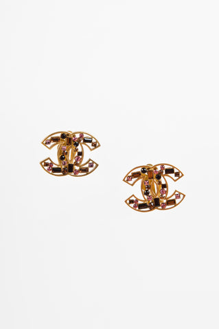 Chanel Gold Toned, Brown, and Pink Crystal Embellished 'CC' Clip On Earrings Frontview