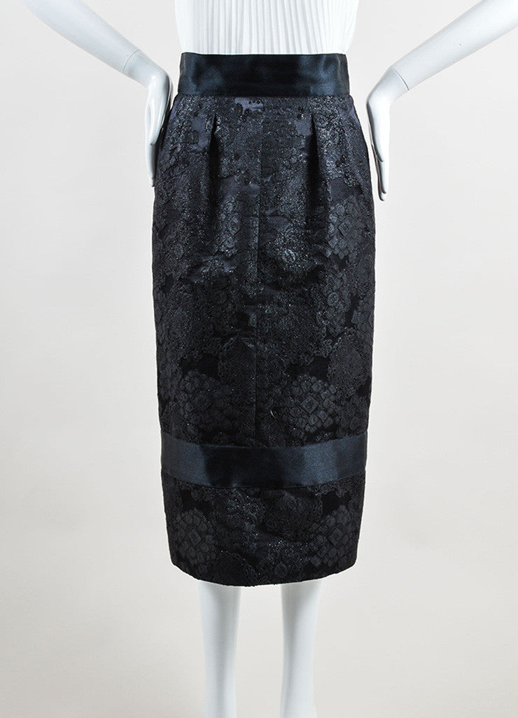 Chanel Black Wool and Silk Trim Embroidered Long Pencil Skirt Frontview
