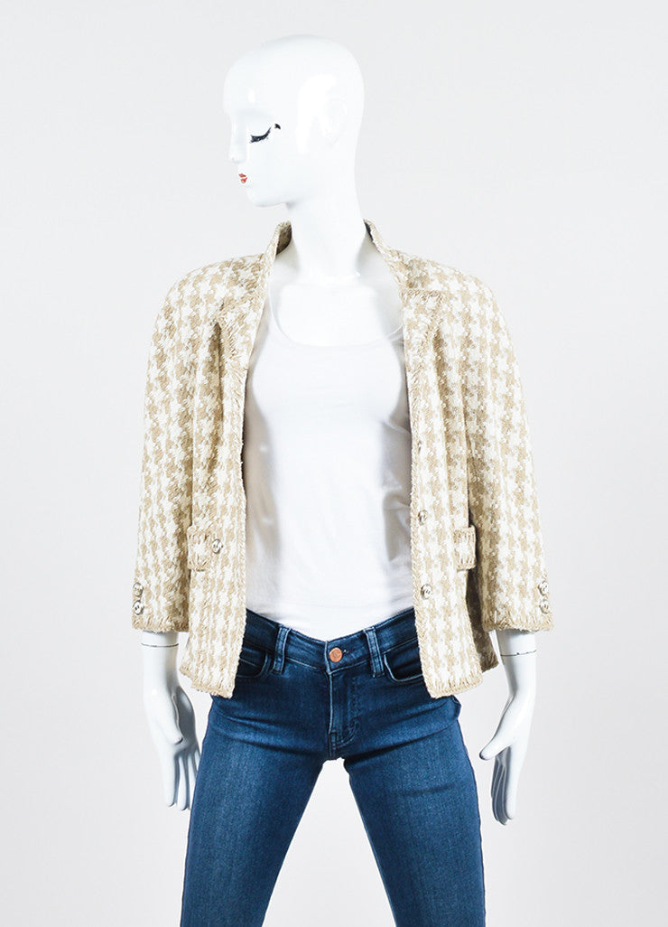 Taupe and White Chanel Silk Woven Houndstooth Cropped Jacket